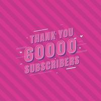 obrigado celebração de 60.000 inscritos vetor