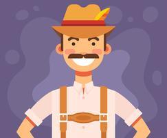 Homem, em, lederhosen, ilustração