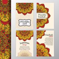 Conjunto de convite vintage e design de plano de fundo com Mandala dec
