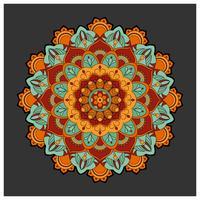 Mandala colorida vintage com ornamento floral. Est de estilo Boho vetor