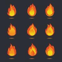 desenho vetorial de ícone de fogo vetor