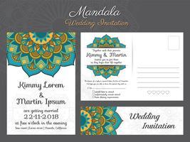Design de cartão de convite de casamento do vintage clássico com bela ma vetor