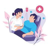 conceito de pessoas doando sangue vetor