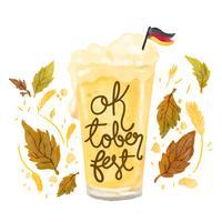 Copo de cerveja bonito com bandeira alemã para Oktoberfest vetor
