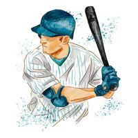 Jogador de beisebol em aquarela vetor