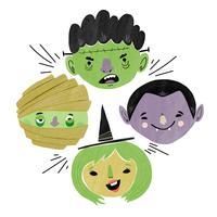 Coleção de personagem de halloween bonito vetor