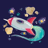 Universo bonito com Airscarft, meteoritos e estrelas vetor