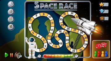 modelo de jogo cobra e escadas com tema espacial vetor