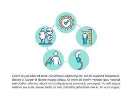 suspensão e disponibilidade de tamanho ícones de linha de conceito com texto vetor