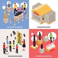 ilustração em vetor conceito isométrico de museu