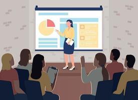 ilustração em vetor cor plana de conferência de treinamento de marketing
