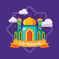 fundo da mesquita eid mubarak vetor