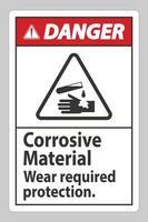 sinal de perigo materiais corrosivos usam proteção necessária vetor