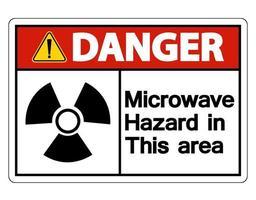 perigo de microondas sinal de perigo em fundo branco vetor
