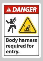 Sinal de perigo é necessário arnês corporal para entrada vetor