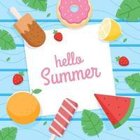 fundo de comida de verão vetor