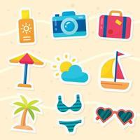 pacote de adesivos de férias de verão vetor