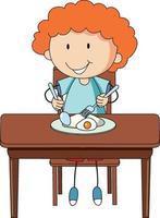 um menino tomando café da manhã doodle personagem de desenho animado isolado vetor