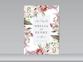 cartão de convite de casamento floral elegante vetor