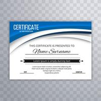 Vetor de certificado criativo ondulado azul elegante abstrata