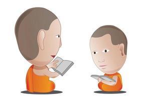 velho monge ensina dharma para pequeno monge vetor