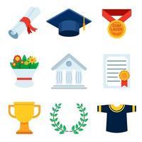 conjunto de ícones de graduação vetor