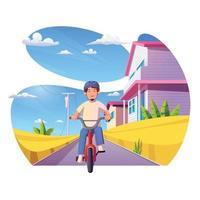 homem andando de bicicleta na cidade vetor
