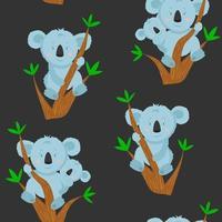 padrão sem emenda com coala de desenho animado no galho de árvore de eucalipto. ilustração com coala engraçado com bebê coala. padrão para tecido e roupas. vetor