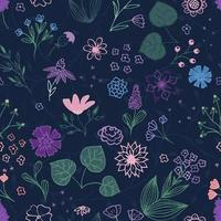 desenho de bordado floral. esboçar motivos botânicos desenhados à mão. doodle, flores no jardim, folhas, ramos. textura de vetor moderno para moda, tecido, impressão retro.