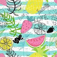 papéis de parede engraçados de trópicos exóticos. padrão sem emenda com folhas, abacaxis, morangos e limões em fundo colorido. vetor