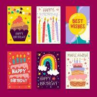 coleção de cartões de aniversário em estilo rabisco vetor