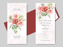 convites de casamento temas florais vermelhos vetor