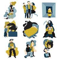 ícones lisos de medos humanos definir ilustração vetorial vetor