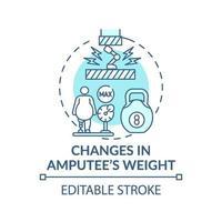 mudanças no ícone do conceito de peso do amputado vetor