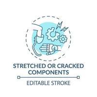 ícone do conceito de componentes esticados e rachados vetor