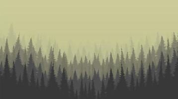 fundo nebuloso de floresta de pinheiros vetor