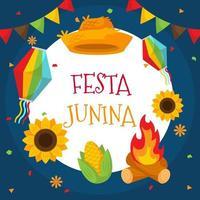 fundo de festa junina em design plano vetor