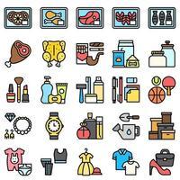 conjunto de ícones relacionados a supermercado e shopping center 3, estilo arquivado vetor