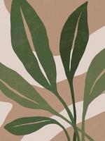 poster de arte botânica contemporânea na parede. arte de linha de folhagem tropical com desenho abstrato shape.boho planta arte abstrata para impressão, capa, papel de parede, arte de parede mínima e natural de meados do século. ilustração vetorial vetor
