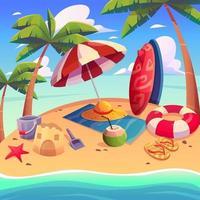 lindo fundo de praia de verão vetor
