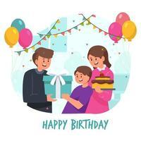 festa de aniversario com familia vetor