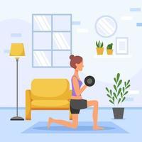 mulher exercitando em casa vetor