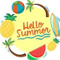 Olá fonte de verão com elementos de praia de verão isolados vetor