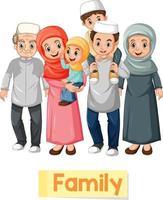 cartão educacional com palavras em inglês de membros da família muçulmana vetor