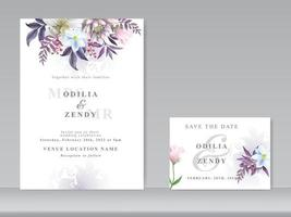 cartão de convite de casamento conjunto aquarela floral linda vetor