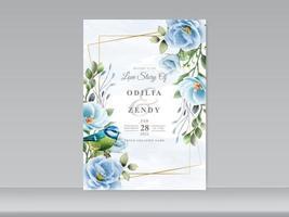 conjunto de cartão de casamento azul floral e pássaro vetor