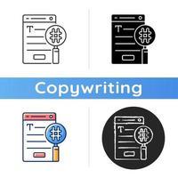 ícone de seo copywriting vetor
