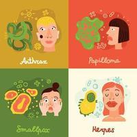 ilustração vetorial conjunto de ícones de vírus humanos vetor
