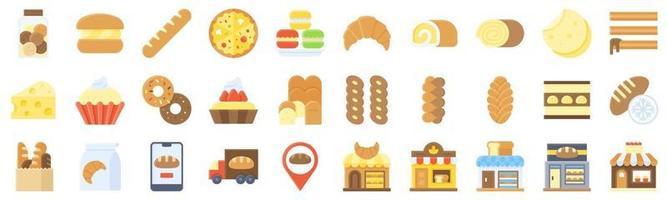 conjunto de ícones planos relacionados com padaria e panificação 5 vetor