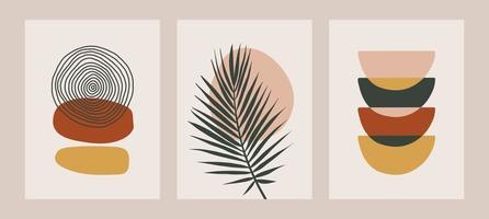 conjunto de arte de linha contínua de flores estéticas. colagem contemporânea abstrata de formas geométricas em um estilo moderno da metade do século vetor
